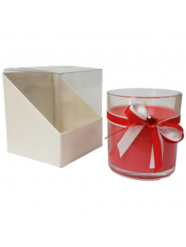 Candles - Glass Beaker with Bow Satin BEG NAT. 722